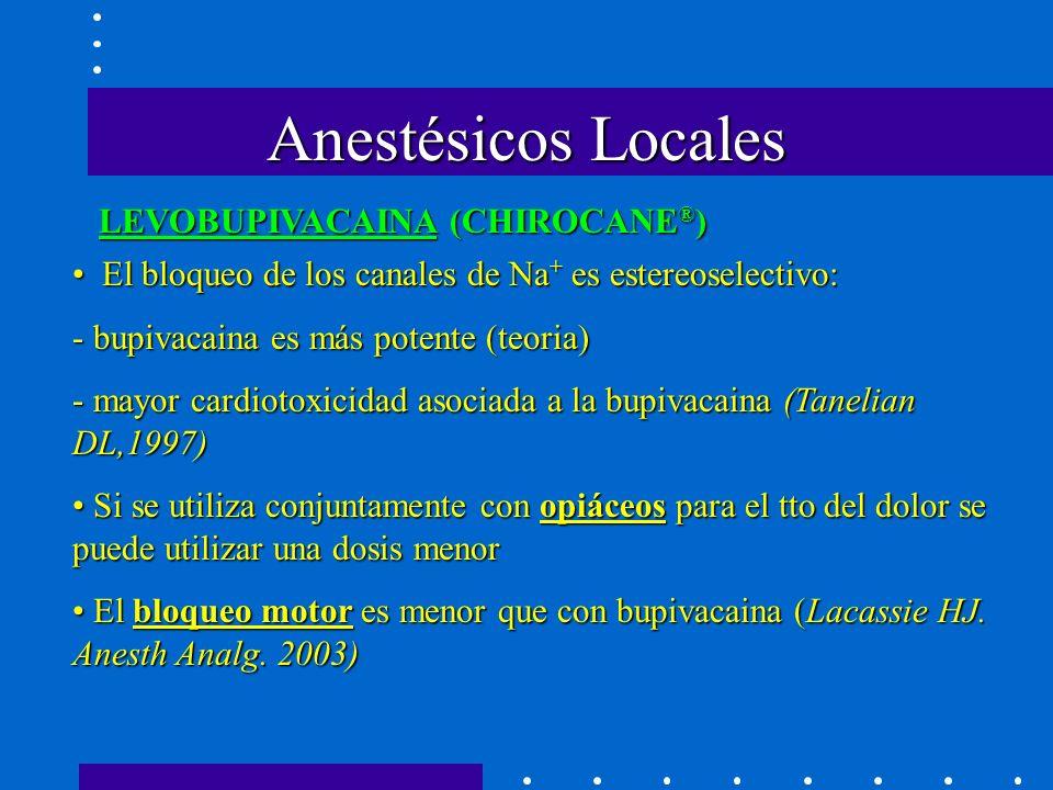 Anestésicos Locales LEVOBUPIVACAINA (CHIROCANE ® ) El bloqueo de los canales de Na + es estereoselectivo: El bloqueo de los canales de Na + es estereoselectivo: - bupivacaina es más potente (teoria) - mayor cardiotoxicidad asociada a la bupivacaina (Tanelian DL,1997) Si se utiliza conjuntamente con opiáceos para el tto del dolor se puede utilizar una dosis menor Si se utiliza conjuntamente con opiáceos para el tto del dolor se puede utilizar una dosis menor El bloqueo motor es menor que con bupivacaina (Lacassie HJ.