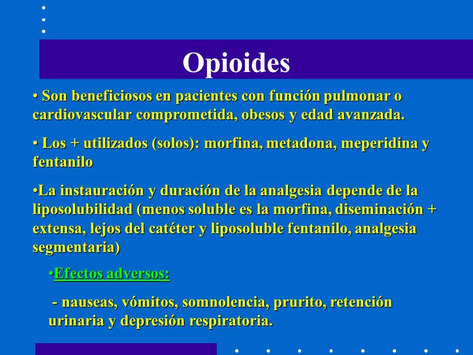 Opioides Efectos adversos:Efectos adversos: - nauseas, vómitos, somnolencia, prurito, retención urinaria y depresión respiratoria.