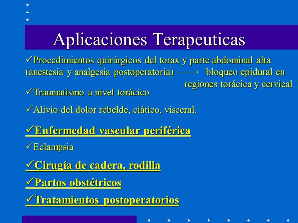Aplicaciones Terapeuticas Procedimientos quirúrgicos del torax y parte abdominal alta (anestesia y analgesia postoperatoria) bloqueo epidural en regiones torácica y cervical Procedimientos quirúrgicos del torax y parte abdominal alta (anestesia y analgesia postoperatoria) bloqueo epidural en regiones torácica y cervical Traumatismo a nivel torácico Traumatismo a nivel torácico Alivio del dolor rebelde, ciático, visceral.