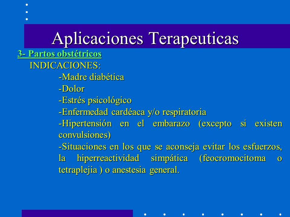 Aplicaciones Terapeuticas INDICACIONES: -Madre diabética -Dolor -Estrés psicológico -Enfermedad cardéaca y/o respiratoria -Hipertensión en el embarazo (excepto si existen convulsiones) -Situaciones en los que se aconseja evitar los esfuerzos, la hiperreactividad simpática (feocromocitoma o tetraplejia ) o anestesia general.