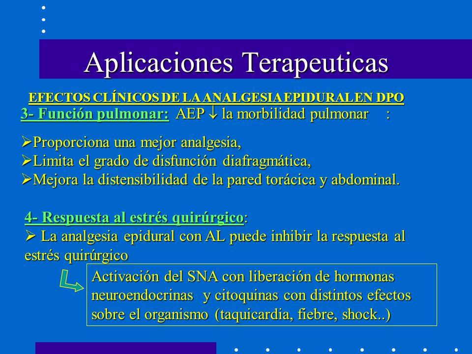 Aplicaciones Terapeuticas 3- Función pulmonar: AEP la morbilidad pulmonar : Proporciona una mejor analgesia, Limita el grado de disfunción diafragmática, Mejora la distensibilidad de la pared torácica y abdominal.
