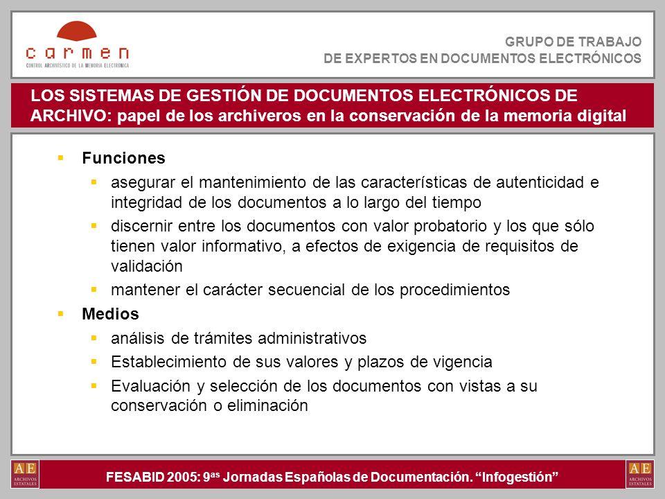 FESABID 2005: 9 as Jornadas Españolas de Documentación. Infogestión GRUPO DE TRABAJO DE EXPERTOS EN DOCUMENTOS ELECTRÓNICOS LOS SISTEMAS DE GESTIÓN DE