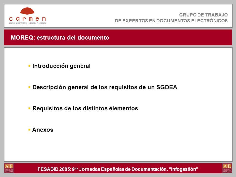 FESABID 2005: 9 as Jornadas Españolas de Documentación. Infogestión GRUPO DE TRABAJO DE EXPERTOS EN DOCUMENTOS ELECTRÓNICOS MOREQ: estructura del docu