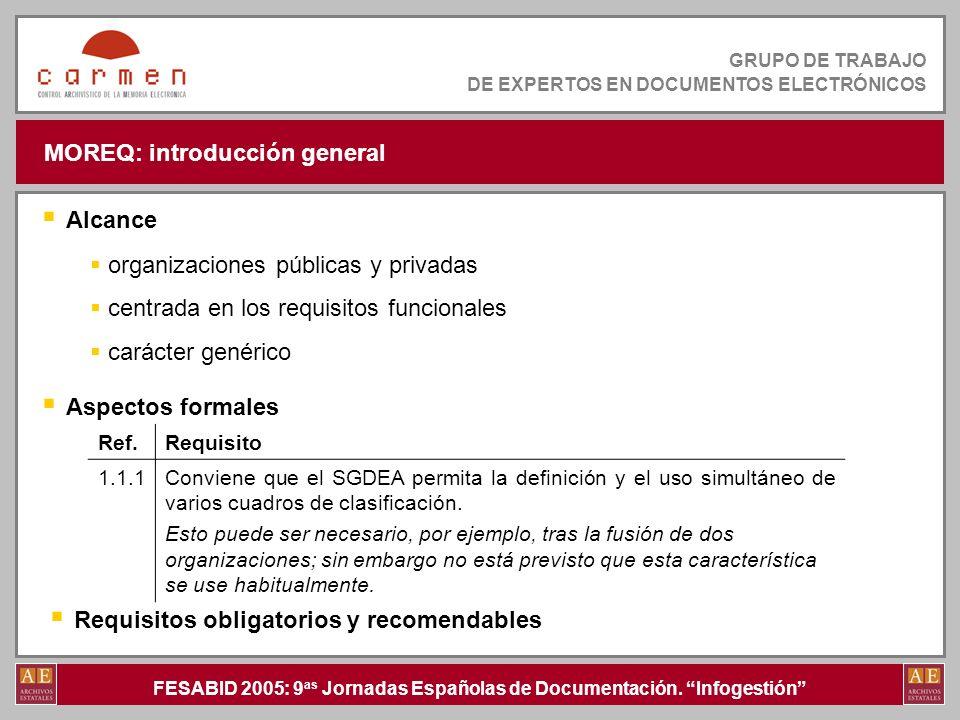 FESABID 2005: 9 as Jornadas Españolas de Documentación. Infogestión GRUPO DE TRABAJO DE EXPERTOS EN DOCUMENTOS ELECTRÓNICOS MOREQ: introducción genera