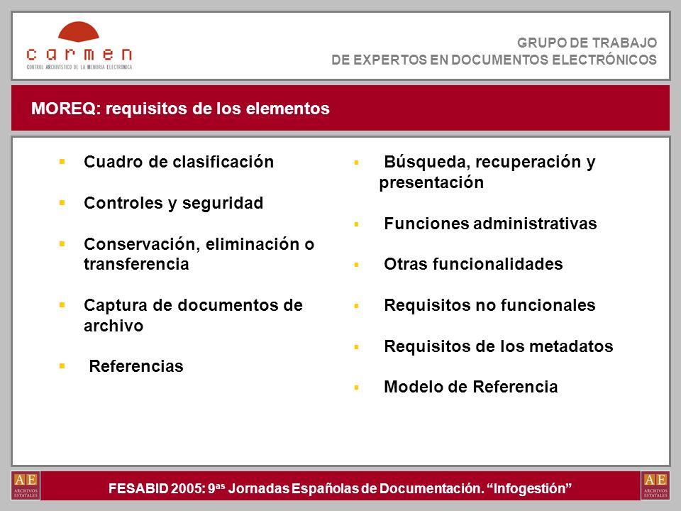 FESABID 2005: 9 as Jornadas Españolas de Documentación. Infogestión GRUPO DE TRABAJO DE EXPERTOS EN DOCUMENTOS ELECTRÓNICOS MOREQ: requisitos de los e