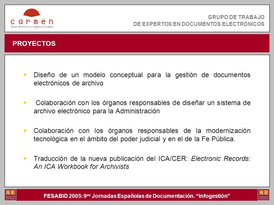 FESABID 2005: 9 as Jornadas Españolas de Documentación. Infogestión GRUPO DE TRABAJO DE EXPERTOS EN DOCUMENTOS ELECTRÓNICOS PROYECTOS Diseño de un mod