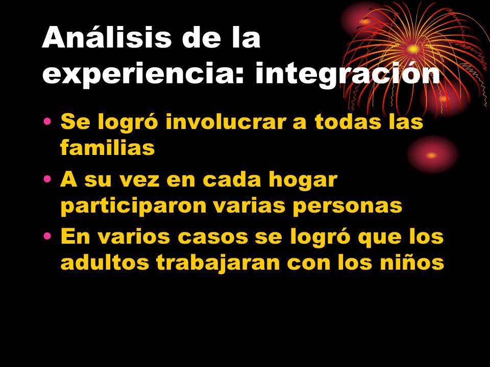 Análisis de la experiencia: integración Se logró involucrar a todas las familias A su vez en cada hogar participaron varias personas En varios casos s