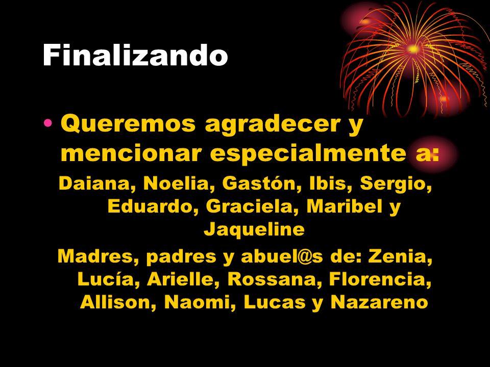Finalizando Queremos agradecer y mencionar especialmente a: Daiana, Noelia, Gastón, Ibis, Sergio, Eduardo, Graciela, Maribel y Jaqueline Madres, padre