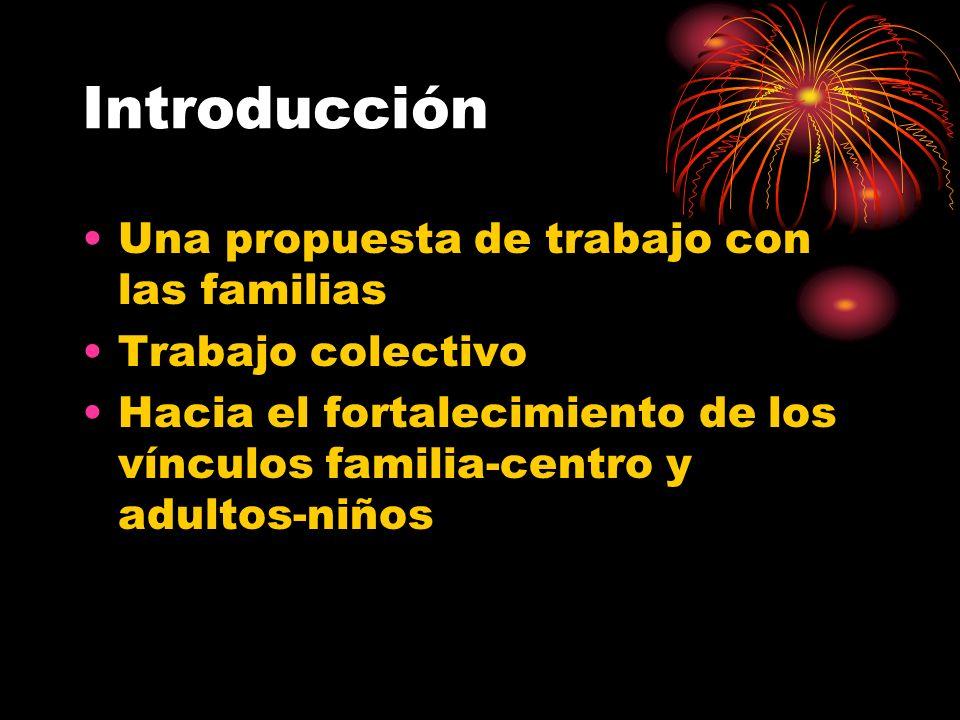 Introducción Una propuesta de trabajo con las familias Trabajo colectivo Hacia el fortalecimiento de los vínculos familia-centro y adultos-niños