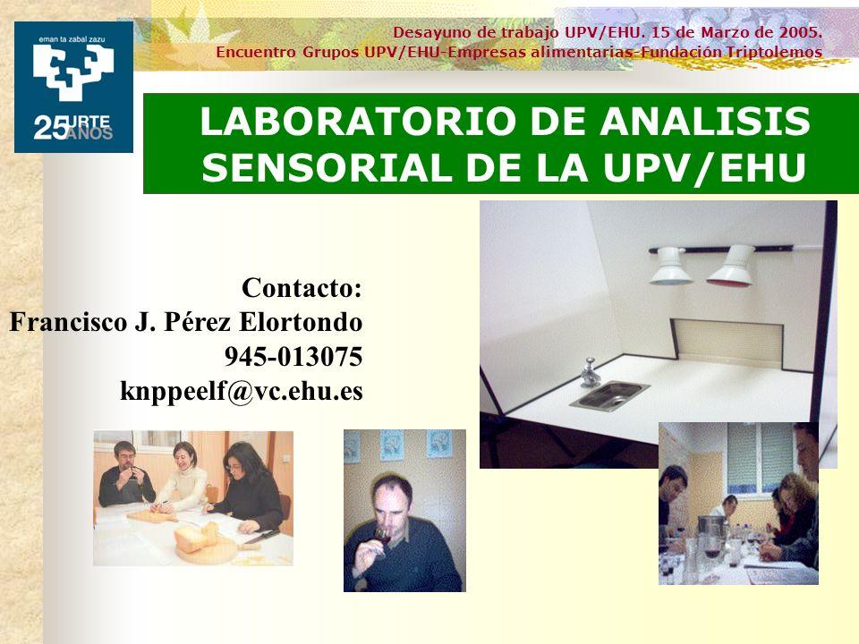 Desayuno de trabajo UPV/EHU. 15 de Marzo de 2005. Encuentro Grupos UPV/EHU-Empresas alimentarias-Fundación Triptolemos LABORATORIO DE ANALISIS SENSORI