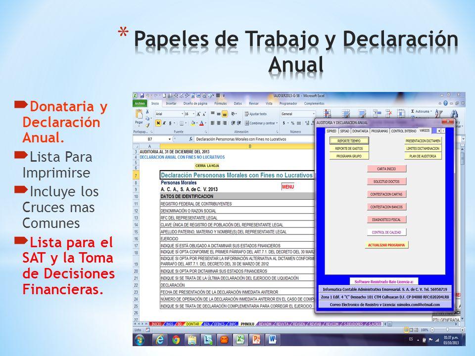 Información Alternativa al Dictamen Lista Para Imprimirse Incluye los Cruces mas Comunes Lista para el SAT y la toma de Decisiones Financieras.