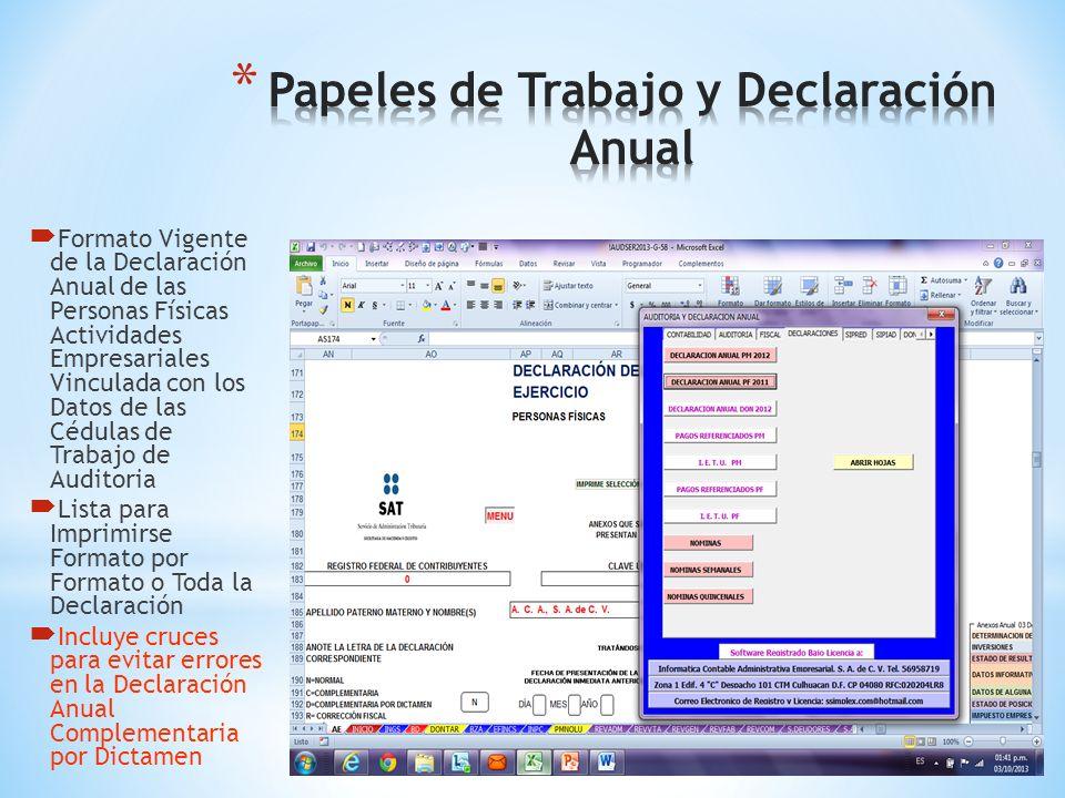 Formato Vigente de la Declaración Anual de las Personas Morales Vinculada con los Datos de las Cédulas de Trabajo de Auditoria Lista para Imprimirse F
