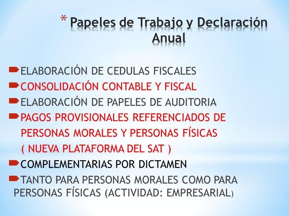 Índices Fiscales Vinculados Listos para Utilizarse en las Diferentes Áreas que se Necesitan: Activo Fijo, Componente Pérdidas Fiscales, Recargos, Actu