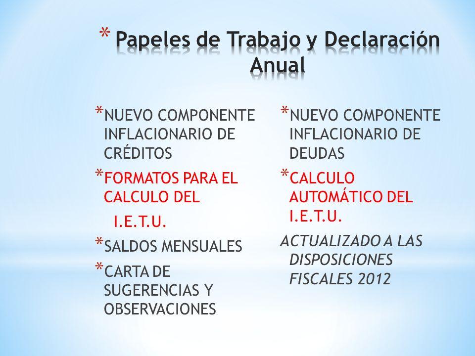 TABLAS DE INPC ACTUALIZADOS RECARGOS FEDERALES TIPOS DE CAMBIOS RECARGOS LOCALES (DF y Edo. de México) ÍNDICES FINANCIEROS RAZONES FINANCIERAS FACTORE
