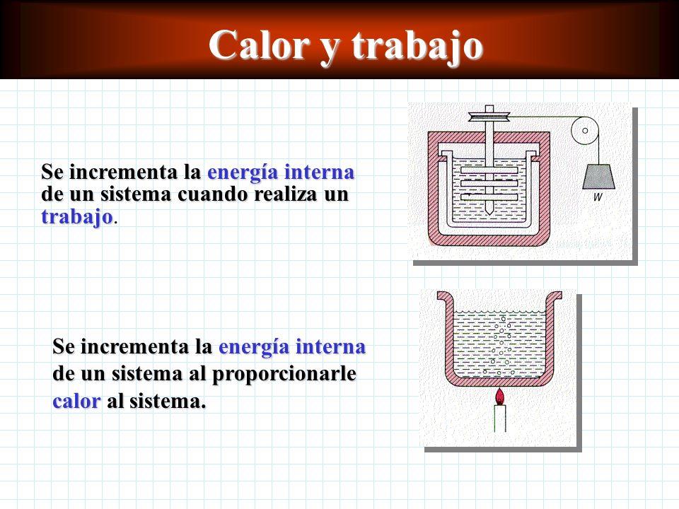 Calor y trabajo Se incrementa la energía interna de un sistema cuando realiza un trabajo Se incrementa la energía interna de un sistema cuando realiza un trabajo.