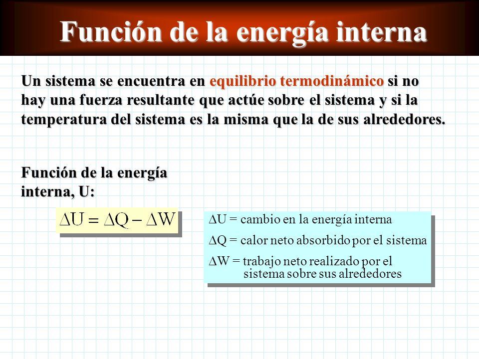 Función de la energía interna Un sistema se encuentra en equilibrio termodinámico si no hay una fuerza resultante que actúe sobre el sistema y si la temperatura del sistema es la misma que la de sus alrededores.