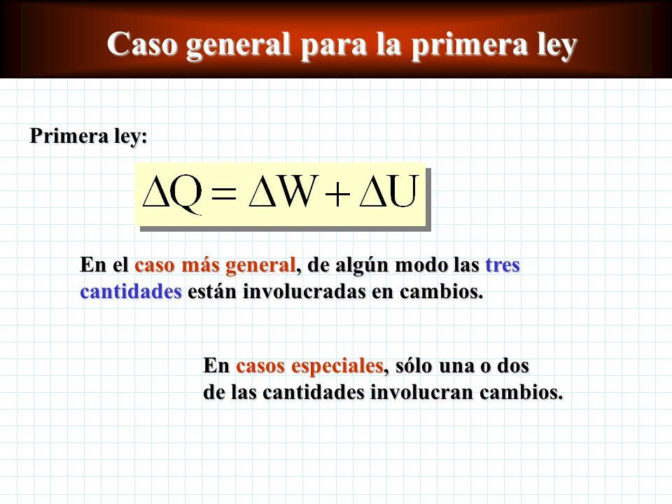 Caso general para la primera ley Primera ley: En el caso más general, de algún modo las tres cantidades están involucradas en cambios.