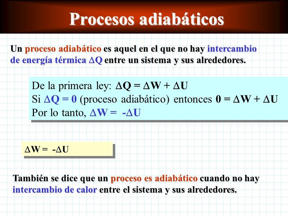 Procesos adiabáticos Un proceso adiabático es aquel en el que no hay intercambio de energía térmica Q entre un sistema y sus alrededores.