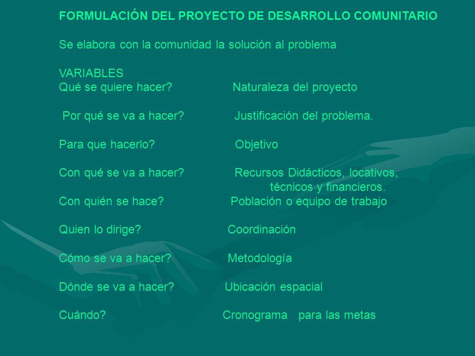 FORMULACIÓN DEL PROYECTO DE DESARROLLO COMUNITARIO Se elabora con la comunidad la solución al problema VARIABLES Qué se quiere hacer? Naturaleza del p