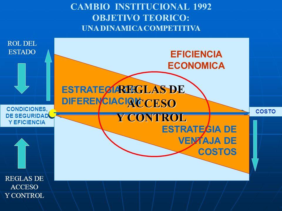 CONDICIONES, DE SEGURIDAD Y EFICIENCIA COSTO ESTRATEGIA DE DIFERENCIACION EFICIENCIA ECONOMICA ESTRATEGIA DE VENTAJA DE COSTOS ROL DEL ESTADO CAMBIO I