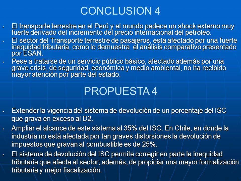 CONCLUSION 4 El transporte terrestre en el Perú y el mundo padece un shock externo muy fuerte derivado del incremento del precio internacional del pet