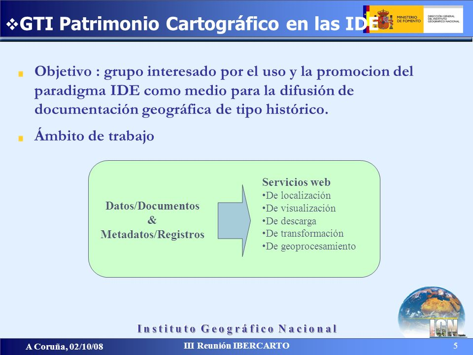 A Coruña, 02/10/08 III Reunión IBERCARTO 5 Objetivo : grupo interesado por el uso y la promocion del paradigma IDE como medio para la difusión de docu