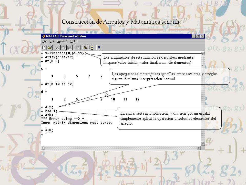 Construcción de Arreglos y Matemática sencilla Los argumentos de esta función se describen mediante: linspace(valor inicial, valor final, num. de elem