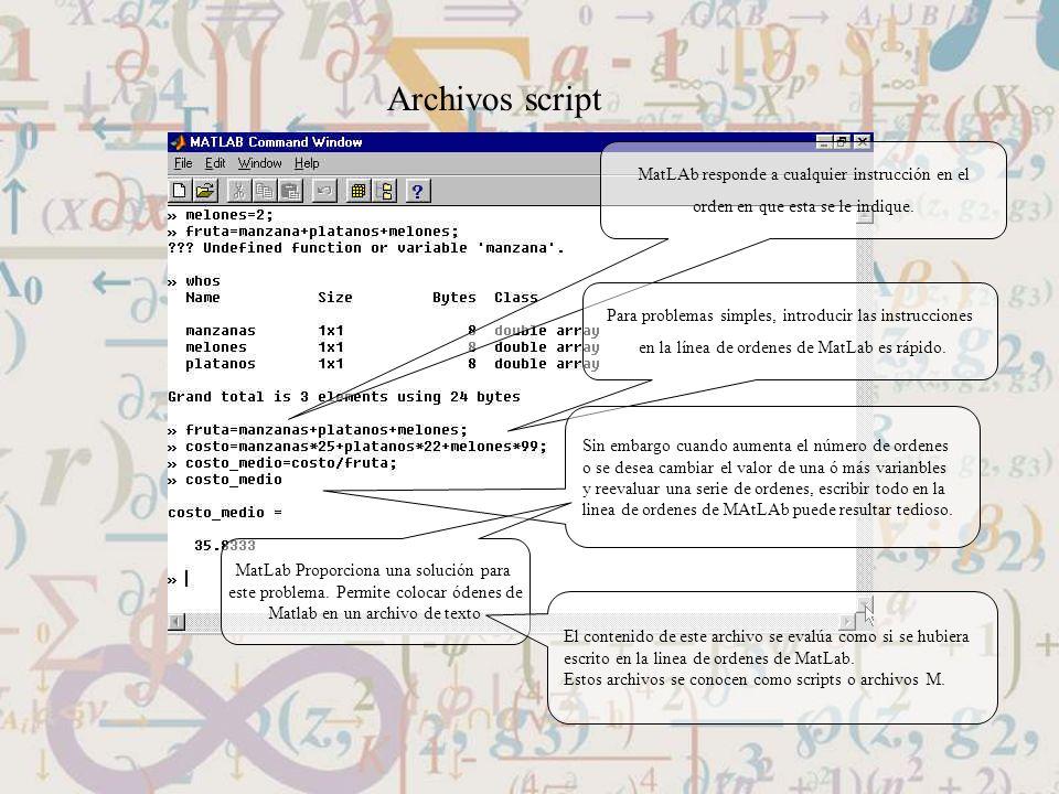 Archivos script MatLAb responde a cualquier instrucción en el orden en que esta se le indique. Para problemas simples, introducir las instrucciones en