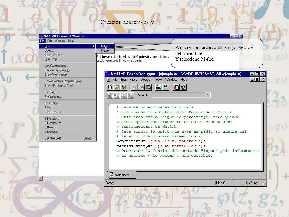 Creación de archivos M Para crear un archivo M escoja New del del Menu File. Y seleccione M-file.