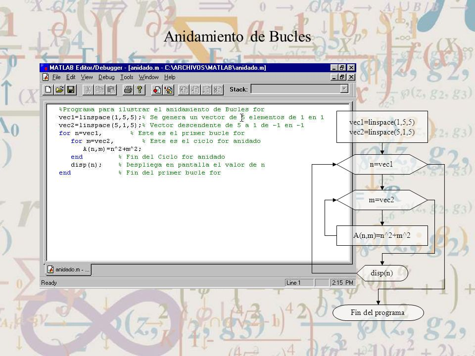 Anidamiento de Bucles vec1=linspace(1,5,5) vec2=linspace(5,1,5) A(n,m)=n^2+m^2 n=vec1 m=vec2 disp(n) Fin del programa