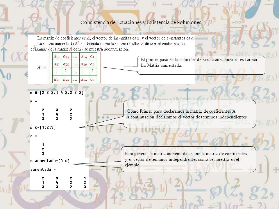 Consistencia de Ecuaciones y Existencia de Soluciones El primer paso en la solución de Ecuaciones lineales es formar La Matriz aumentada. Como Primer
