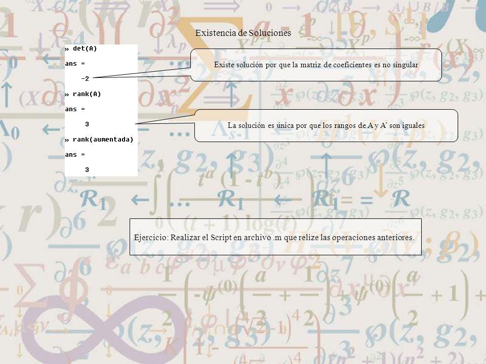 Existencia de Soluciones Existe solución por que la matriz de coeficientes es no singular La solución es única por que los rangos de A y A son iguales