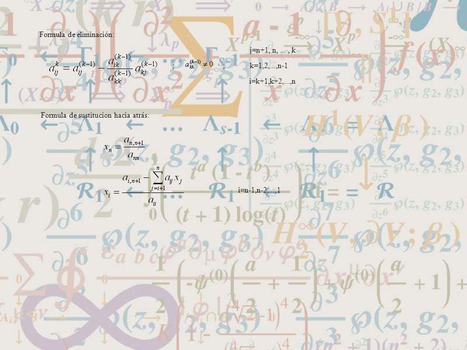 Formula de eliminación: j=n+1, n,..., k k=1,2,...,n-1 i=k+1,k+2,...,n ;; Formula de sustitucion hacia atrás: i=n-1,n-2,...,1