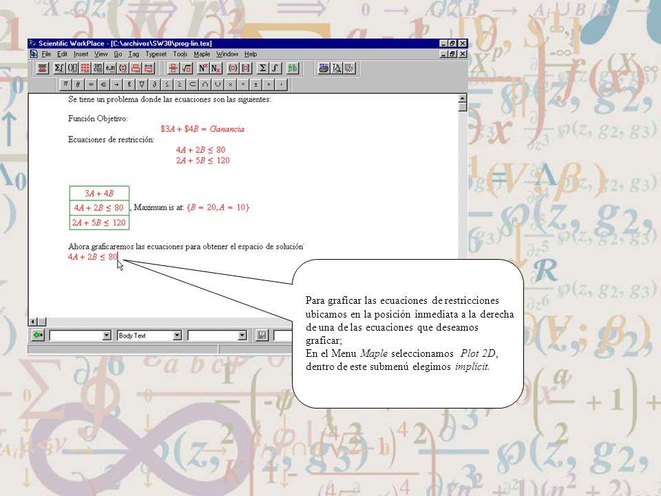 Para graficar las ecuaciones de restricciones ubicamos en la posición inmediata a la derecha de una de las ecuaciones que deseamos graficar; En el Men