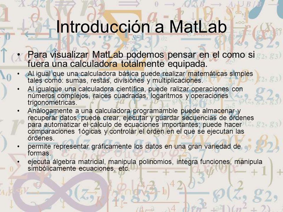 Introducción a MatLab Para visualizar MatLab podemos pensar en el como si fuera una calculadora totalmente equipada. Al igual que una calculadora bási