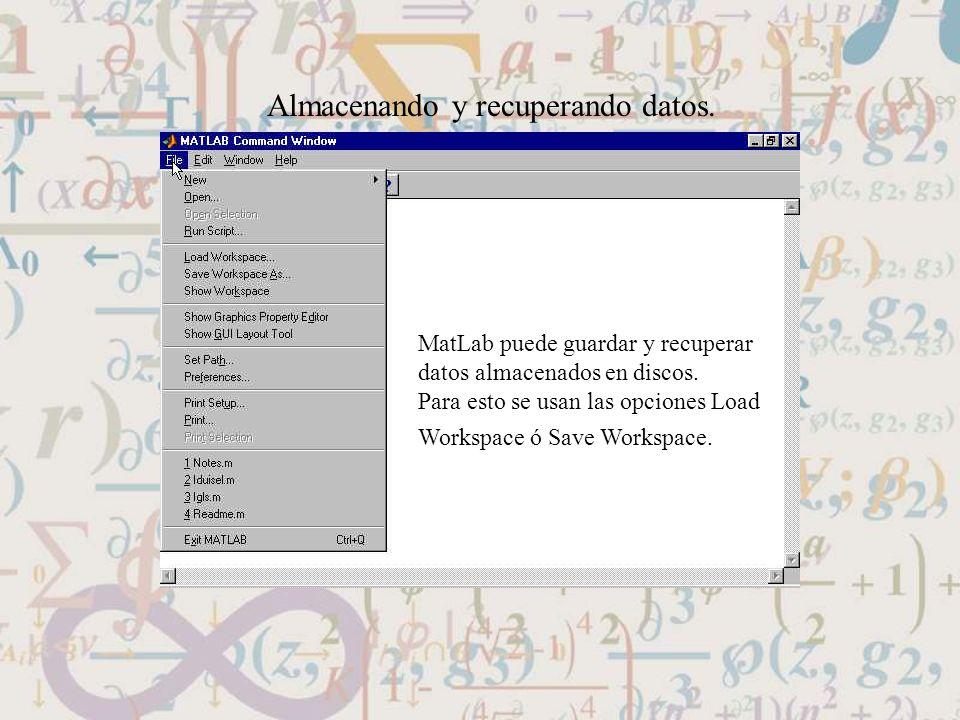 Almacenando y recuperando datos. MatLab puede guardar y recuperar datos almacenados en discos. Para esto se usan las opciones Load Workspace ó Save Wo