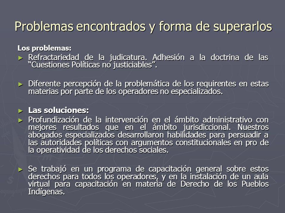 Problemas encontrados y forma de superarlos Los problemas: Refractariedad de la judicatura.