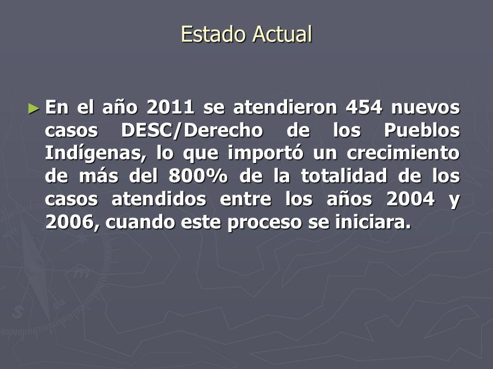 Estado Actual En el año 2011 se atendieron 454 nuevos casos DESC/Derecho de los Pueblos Indígenas, lo que importó un crecimiento de más del 800% de la totalidad de los casos atendidos entre los años 2004 y 2006, cuando este proceso se iniciara.