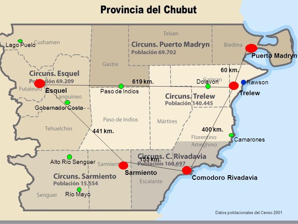 Mapa del Chubut: ubicación de las Oficinas de la Defensa Pública en el año 2012 400 km.