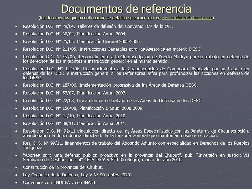 Documentos de referencia (los documentos que a continuación se detallan se encuentran en www.defensachubut.gov.ar) www.defensachubut.gov.ar Resolución D.G.