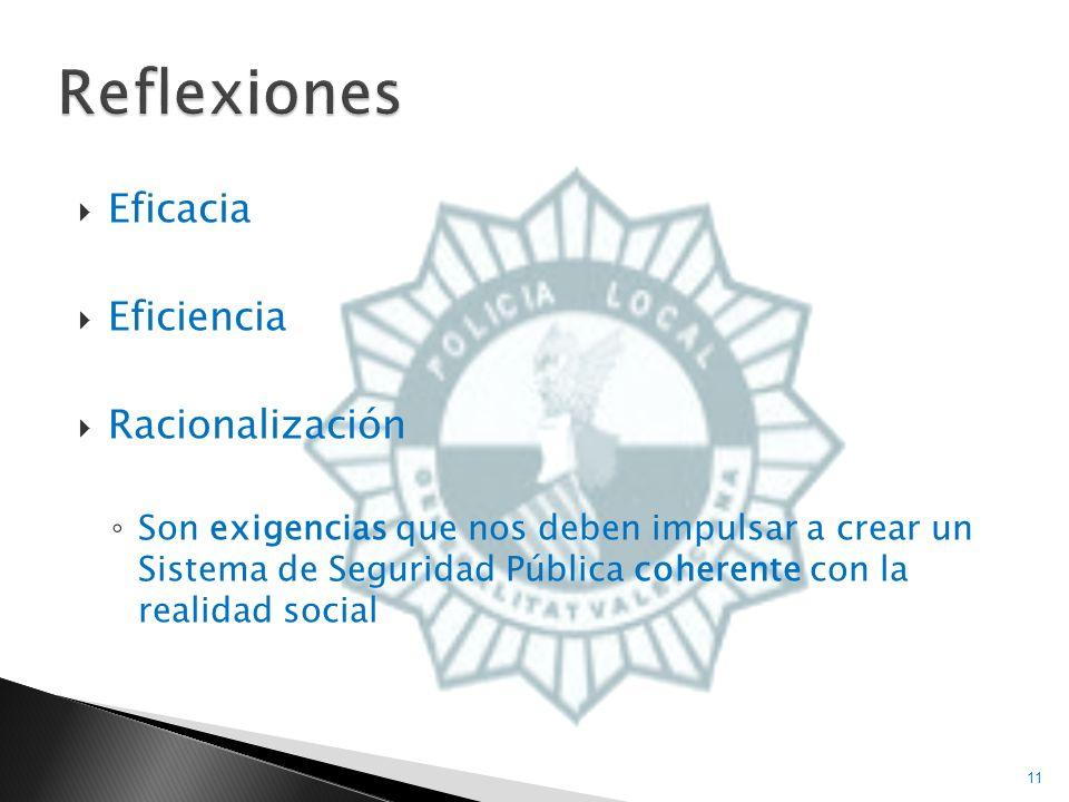 Eficacia Eficiencia Racionalización Son exigencias que nos deben impulsar a crear un Sistema de Seguridad Pública coherente con la realidad social 11