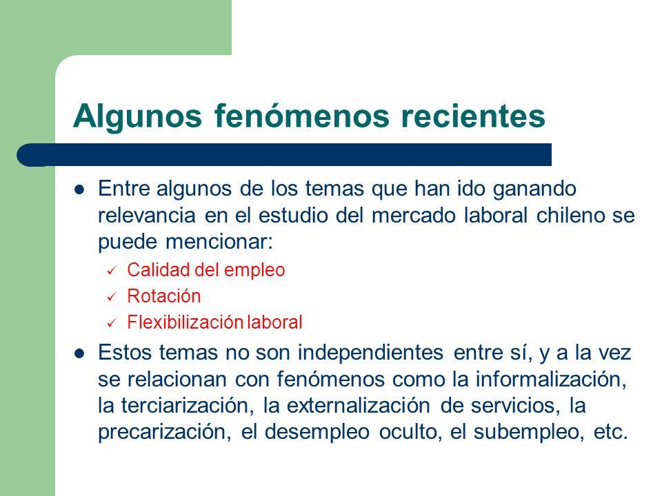 Algunos fenómenos recientes Entre algunos de los temas que han ido ganando relevancia en el estudio del mercado laboral chileno se puede mencionar: Ca