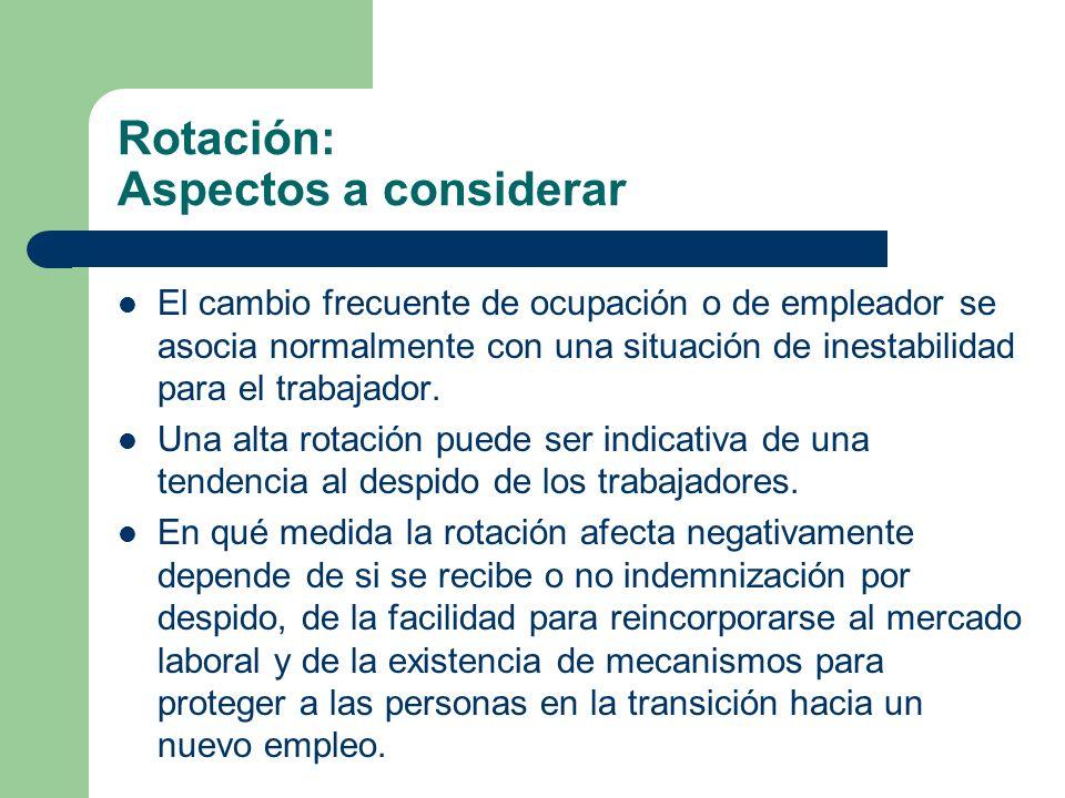 Rotación: Aspectos a considerar El cambio frecuente de ocupación o de empleador se asocia normalmente con una situación de inestabilidad para el traba