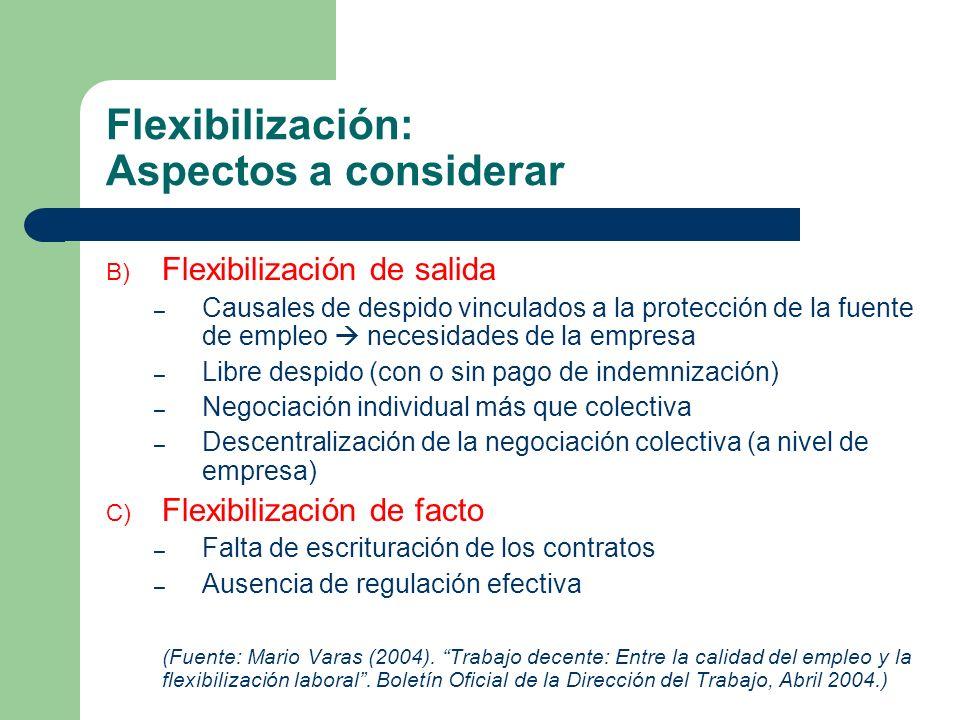 Flexibilización: Algunos resultados recientes - Tipo de empleo