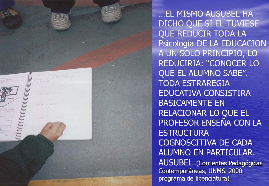 Corrientes Pedagógicas Contemporáneas, UNMS. 2000. programa de licenciatura) …EL MISMO AUSUBEL HA DICHO QUE SI EL TUVIESE QUE REDUCIR TODA LA Psicolog