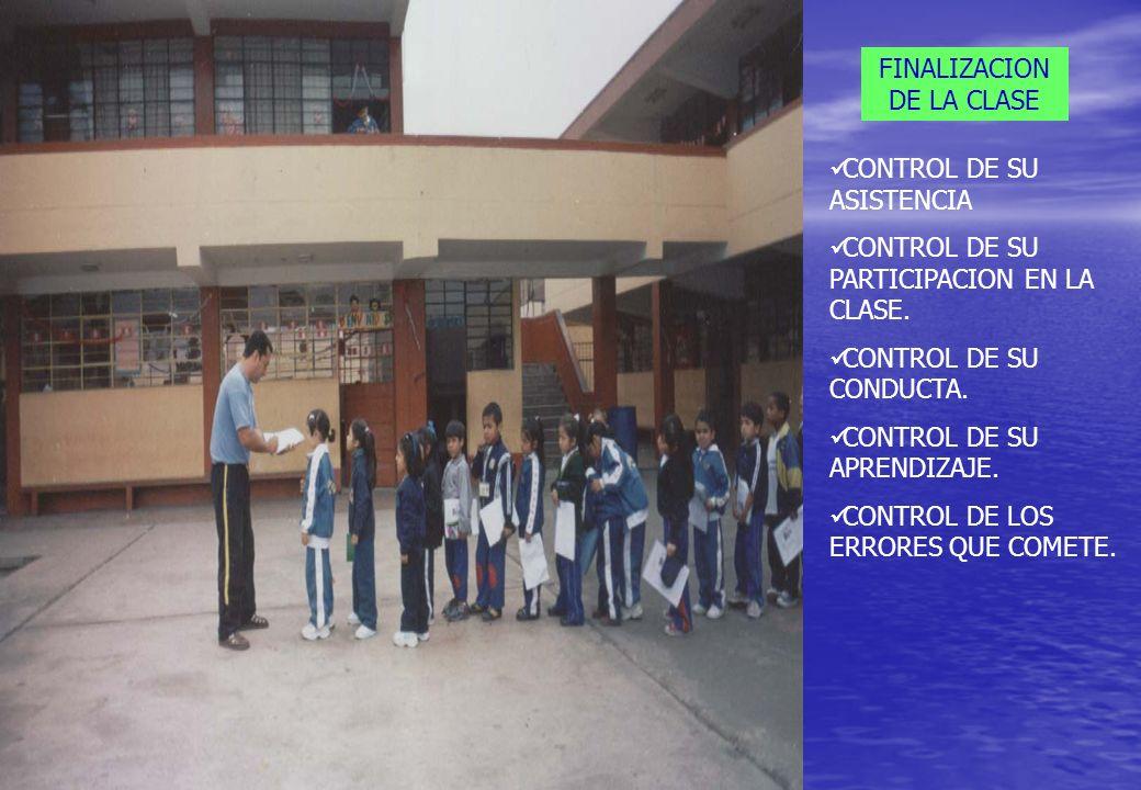 FINALIZACION DE LA CLASE CONTROL DE SU ASISTENCIA CONTROL DE SU PARTICIPACION EN LA CLASE. CONTROL DE SU CONDUCTA. CONTROL DE SU APRENDIZAJE. CONTROL