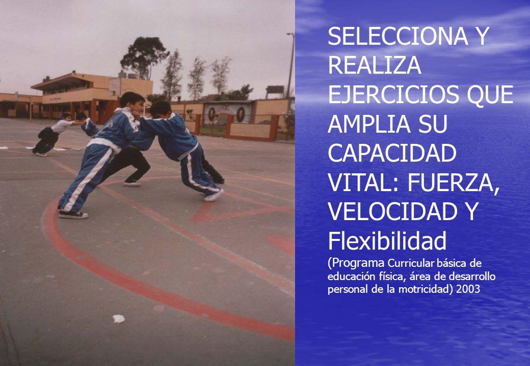 SELECCIONA Y REALIZA EJERCICIOS QUE AMPLIA SU CAPACIDAD VITAL: FUERZA, VELOCIDAD Y Flexibilidad (Programa Curricular básica de educación física, área