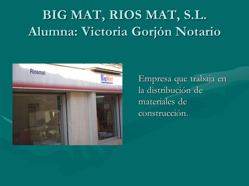 BIG MAT, RIOS MAT, S.L. Alumna: Victoria Gorjón Notario Empresa que trabaja en la distribución de materiales de construcción.