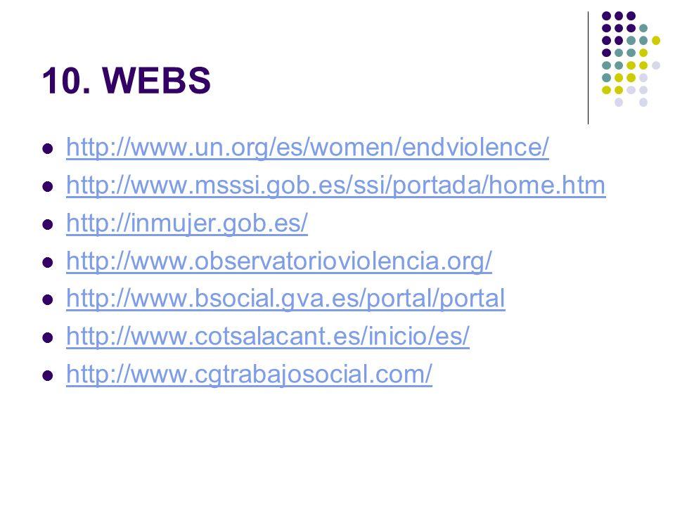 10. WEBS http://www.un.org/es/women/endviolence/ http://www.msssi.gob.es/ssi/portada/home.htm http://inmujer.gob.es/ http://www.observatorioviolencia.