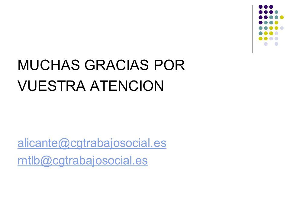 MUCHAS GRACIAS POR VUESTRA ATENCION alicante@cgtrabajosocial.es mtlb@cgtrabajosocial.es